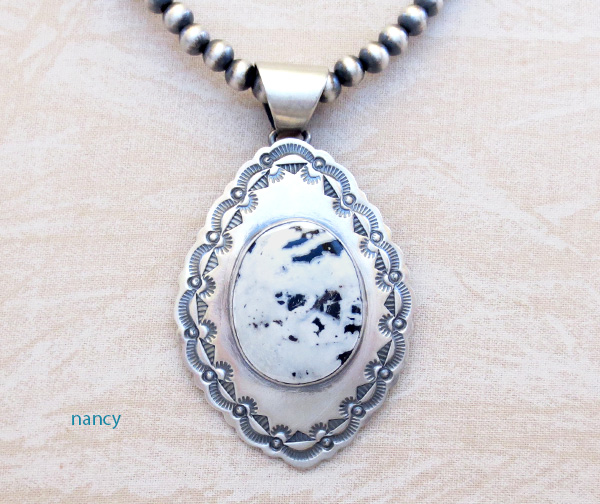 White Buffalo Stone & Sterling Silver Pendant & Desert Pearl Necklace - 4823sn