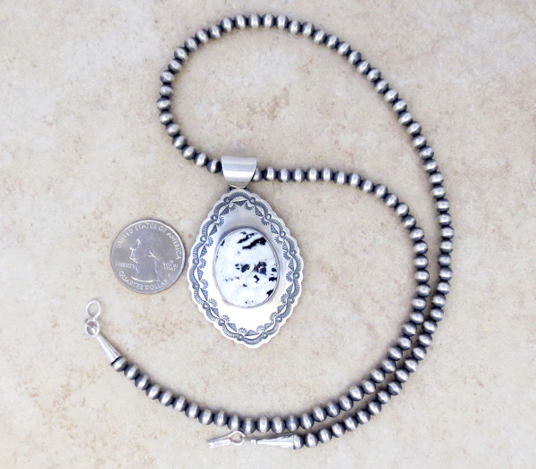 Image 1 of         White Buffalo Stone & Sterling Silver Pendant & Necklace Navajo - 4823sn