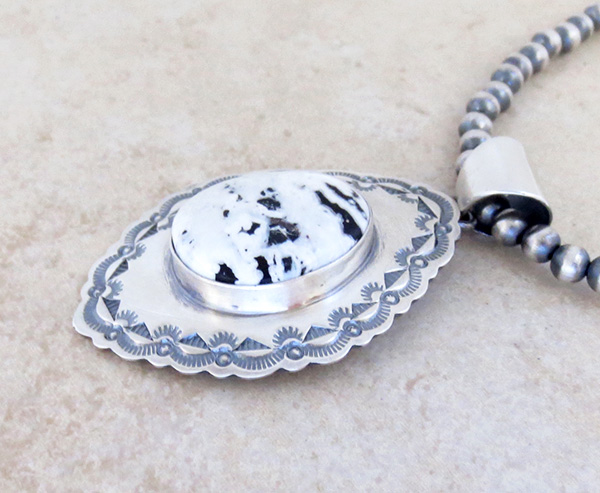 Image 2 of         White Buffalo Stone & Sterling Silver Pendant & Necklace Navajo - 4823sn