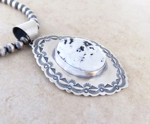 Image 3 of         White Buffalo Stone & Sterling Silver Pendant & Necklace Navajo - 4823sn