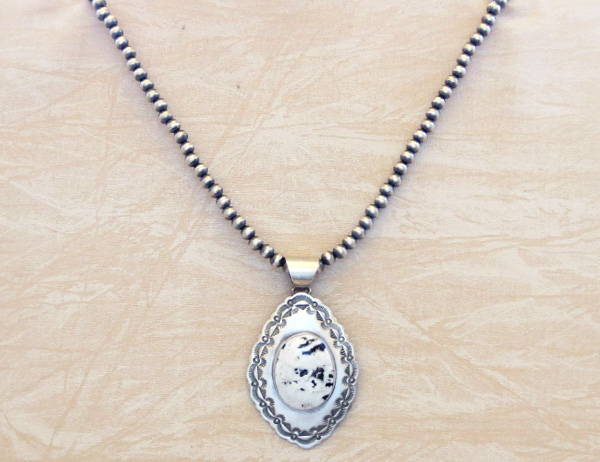 Image 4 of         White Buffalo Stone & Sterling Silver Pendant & Necklace Navajo - 4823sn