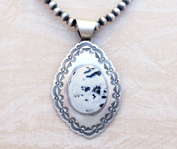 Image 0 of   White Buffalo Stone & Sterling Silver Pendant & Desert Pearl Necklace - 4823sn