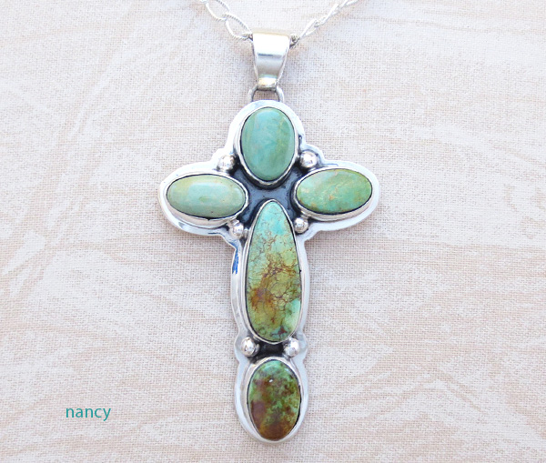 Green Turquoise & Sterling Silver Cross Pendant Navajo Made - 4521sn