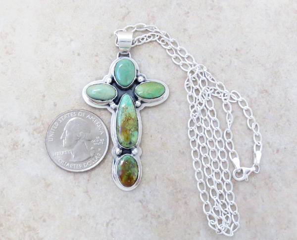 Image 1 of    Green Turquoise & Sterling Silver Cross Pendant Navajo Made - 4521sn
