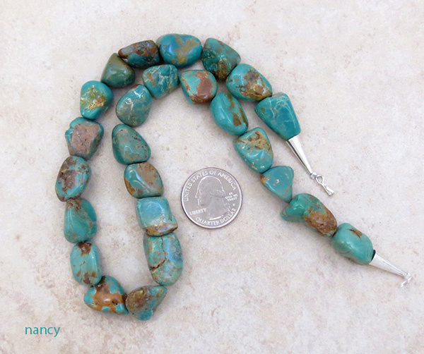Chunky Greenish Turquoise Necklace 18'' Made in New Mexico - 4825rb