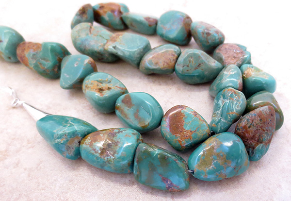 Image 1 of    Chunky Greenish Turquoise Necklace 18'' Made in New Mexico - 4825rb