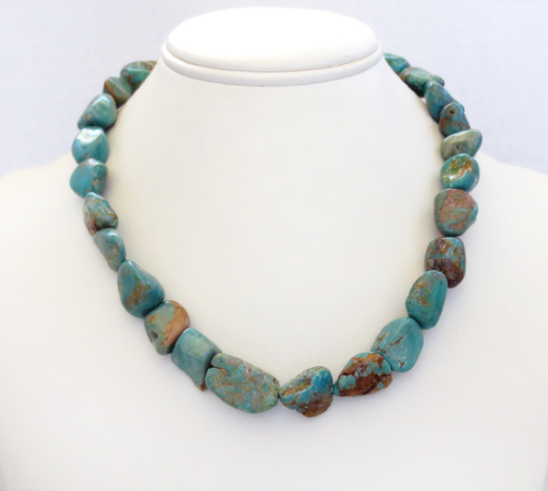 Image 2 of    Chunky Greenish Turquoise Necklace 18'' Made in New Mexico - 4825rb