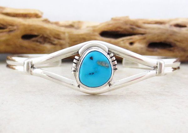 Turquoise & Sterling Silver Bracelet Native American Made - 4713sn
