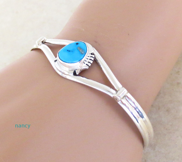 Image 1 of   Turquoise & Sterling Silver Bracelet Native American Jewelry- 4713sn