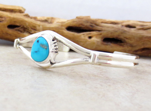 Image 3 of   Turquoise & Sterling Silver Bracelet Native American Jewelry- 4713sn
