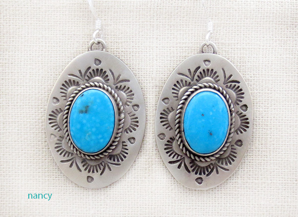 Stamped Turquoise & Sterling Silver Earrings Native American - 4712sw