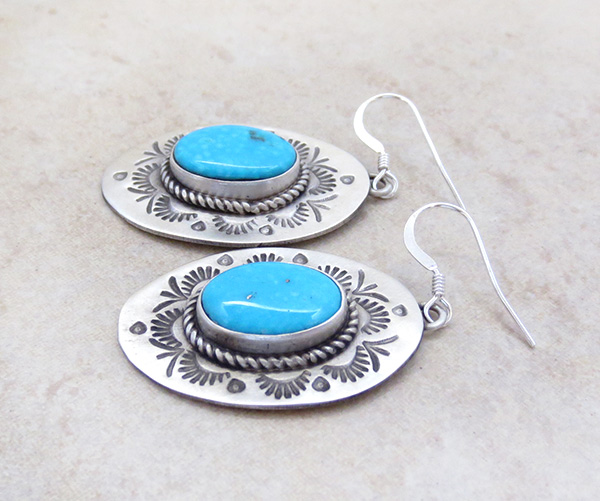 Image 1 of   Stamped Turquoise & Sterling Silver Earrings Native American - 4712sw