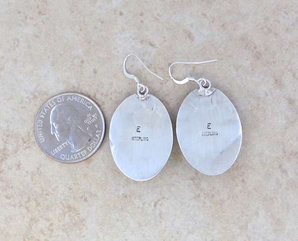 Image 2 of   Stamped Turquoise & Sterling Silver Earrings Native American - 4712sw