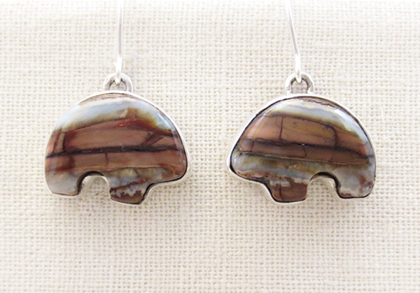 Image 0 of Mammoth Tooth Stone & Sterling Silver Bear Earrings Navajo - 4826sn
