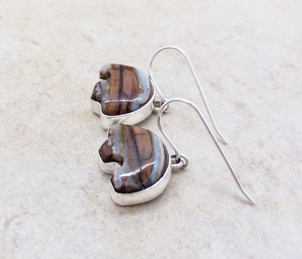 Image 1 of Mammoth Tooth Stone & Sterling Silver Bear Earrings Navajo - 4826sn