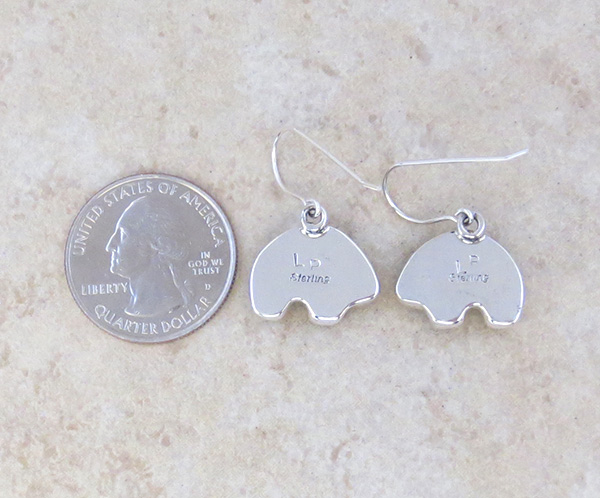Image 2 of Mammoth Tooth Stone & Sterling Silver Bear Earrings Navajo - 4826sn