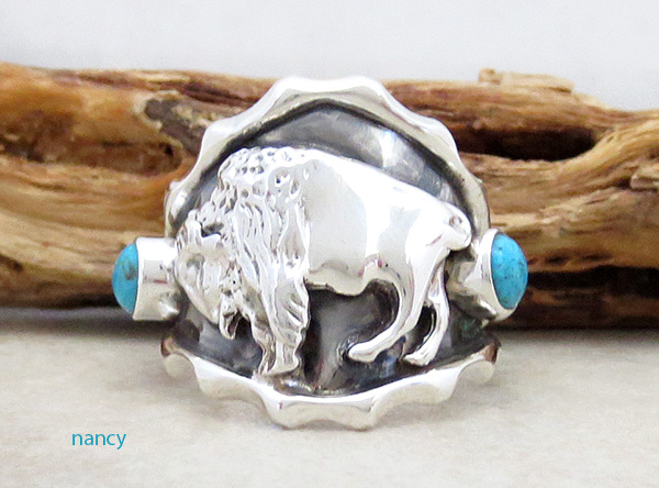 Image 0 of Sterling Silver & Turquoise Buffalo Ring Size 10.5 Native American - 2882rb