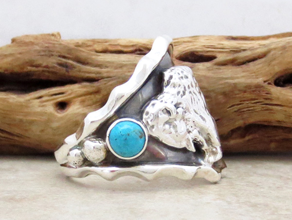 Image 1 of Sterling Silver & Turquoise Buffalo Ring Size 10.5 Native American - 2882rb