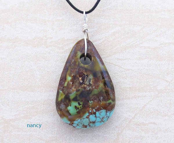 Turquoise Pendant With Cord Made in New Mexico - 3697sw