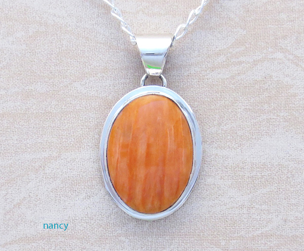 Orange Spiny Oyster & Sterling Silver Pendant Native American - 4173sn