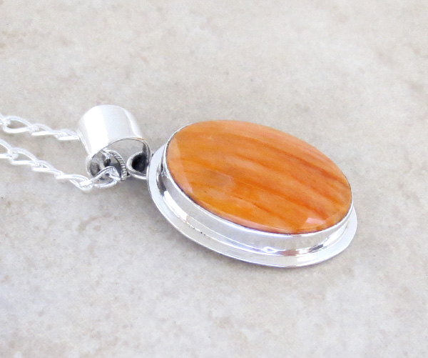 Image 2 of    Orange Spiny Oyster & Sterling Silver Pendant Native American - 4173sn