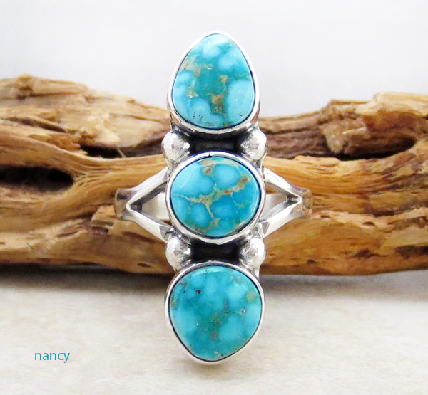 Image 0 of       Turquoise & Sterling Silver Ring Size 6.5 Native American Jewelry - 1267sn
