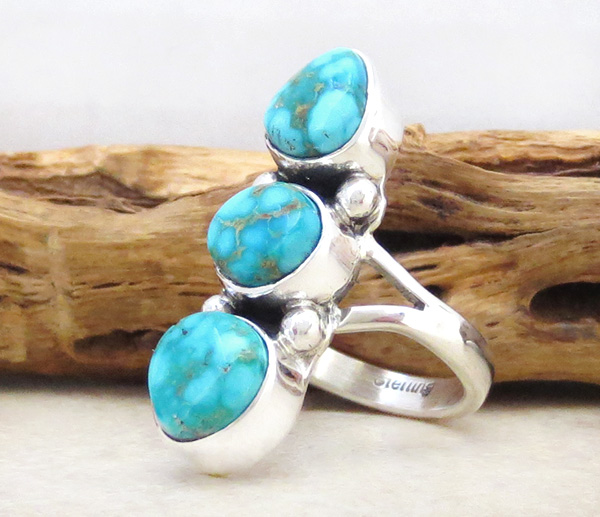 Image 2 of       Turquoise & Sterling Silver Ring Size 6.5 Native American Jewelry - 1267sn