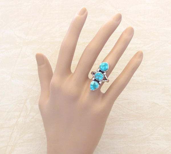 Image 4 of       Turquoise & Sterling Silver Ring Size 6.5 Native American Jewelry - 1267sn
