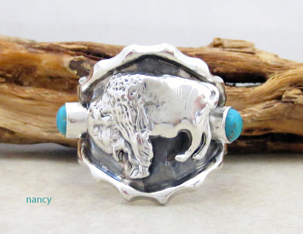 Sterling Silver & Turquoise Buffalo Ring Size 11.5 Native American - 4170rb