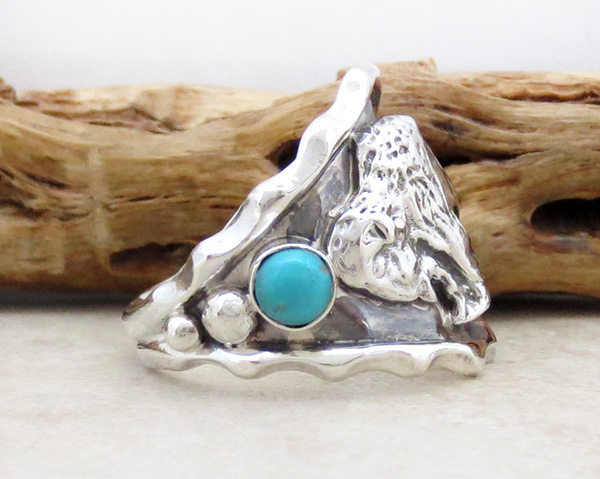 Image 1 of     Sterling Silver & Turquoise Buffalo Ring Size 11.5 Native American - 4170rb