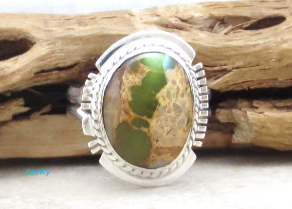 Native American Boulder Turquoise & Sterling Silver Ring Size 7 - 2883sn
