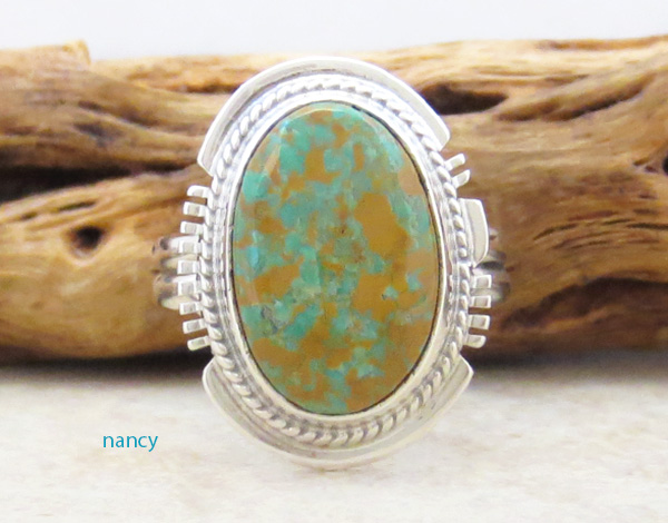 Image 0 of     Turquoise & Sterling Silver Ring Size 9 Native American - 4829sn