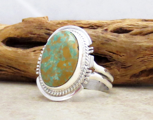 Image 2 of     Turquoise & Sterling Silver Ring Size 9 Native American - 4829sn