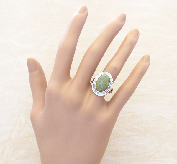 Image 4 of     Turquoise & Sterling Silver Ring Size 9 Native American - 4829sn