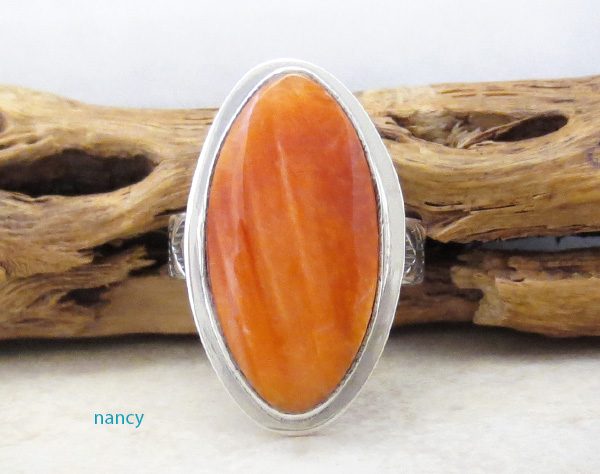 Native American Orange Spiny Oyster & Sterling Silver Ring Size 8 - 4714sn