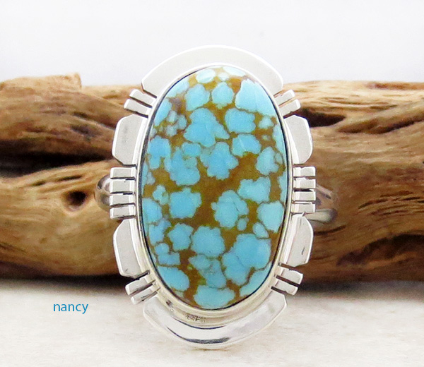 Number 8 Mine Turquoise & Sterling Silver Ring Sz 8.75 Native American - 4830sn