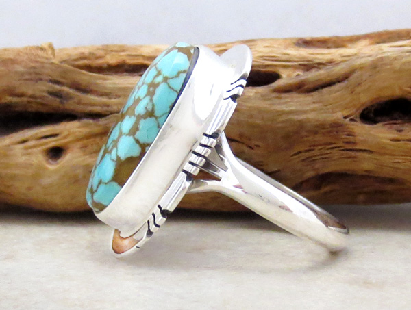 Image 1 of  Number 8 Mine Turquoise & Sterling Silver Ring Sz 8.75 Native American - 4830sn