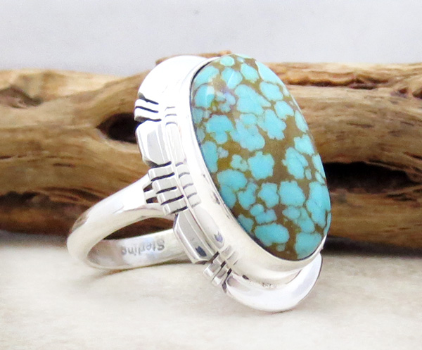 Image 2 of  Number 8 Mine Turquoise & Sterling Silver Ring Sz 8.75 Native American - 4830sn