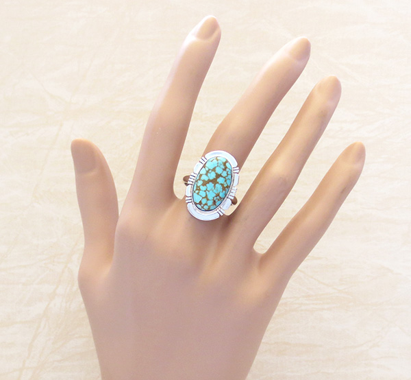 Image 4 of  Number 8 Mine Turquoise & Sterling Silver Ring Sz 8.75 Native American - 4830sn