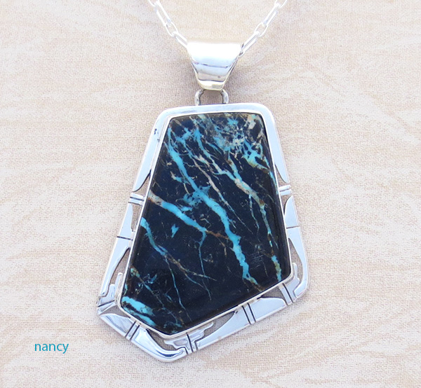 Image 0 of Huge Sunnyside Turquoise & Sterling Silver Pendant Native American Made - 4832sn