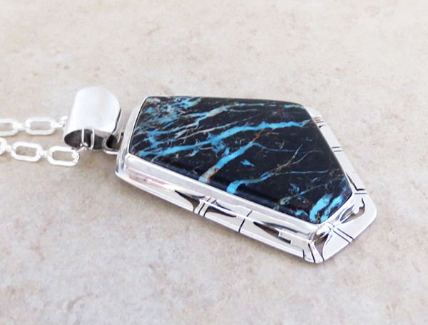 Image 2 of Huge Sunnyside Turquoise & Sterling Silver Pendant Native American Made - 4832sn