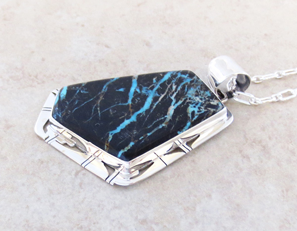 Image 3 of Huge Sunnyside Turquoise & Sterling Silver Pendant Native American Made - 4832sn