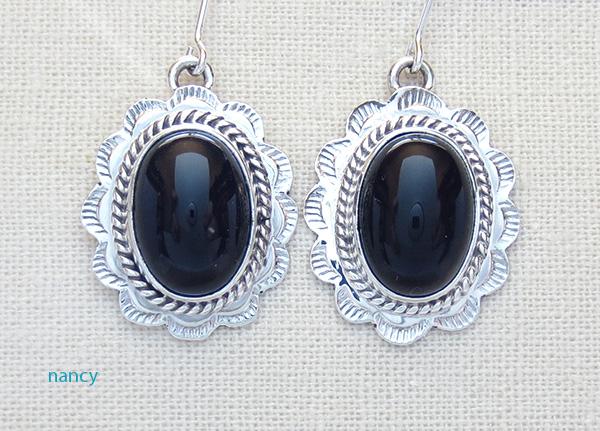 Black Onyx & Sterling Silver Earrings Native American Made - 4175sn