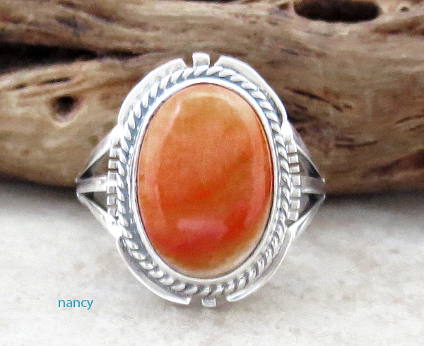 Orange Spiny Oyster & Sterling Silver Ring size 6.25 Native American - 4715sn