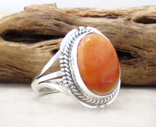 Image 2 of Orange Spiny Oyster & Sterling Silver Ring size 6.25 Native American - 4715sn