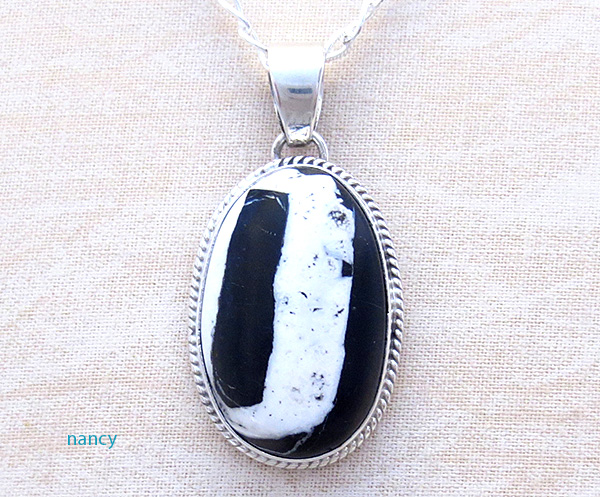 Native American White Buffalo Stone & Sterling Silver Pendant - 4279sn