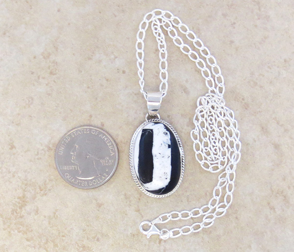 Image 1 of       Native American White Buffalo Stone & Sterling Silver Pendant - 4279sn