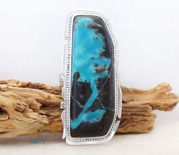 Sunnyside Turquoise & Sterling Silver Ring Size 10 Navajo - 4836sn