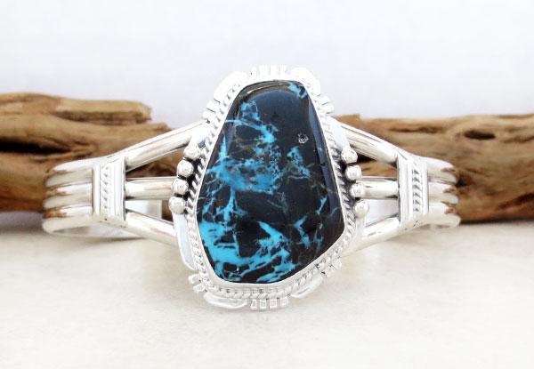 Large Sunnyside Turquoise & Sterling Silver Bracelet Navajo Made - 4176sn