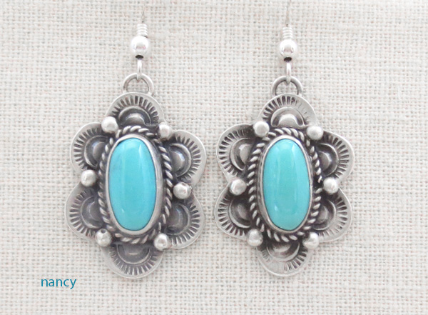 Turquoise & Sterling Silver Earrings Native American Made - 4821sw